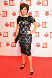 Birgit Schrowange looked so demure and delicate in her lace LBD.
