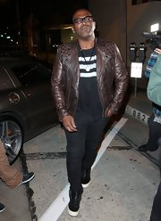 Randy Jackson wore this brown leather jacket with quilted shoulders and studs for his rock 'n' roll style.