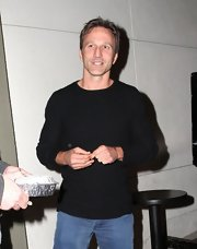 Breckin Meyer looked casual and cool in a black crewneck while out getting dinner in Hollywood.