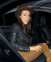 Maggie Q channeled Indiana Jones with this brown walker hat while enjoying a night out.
