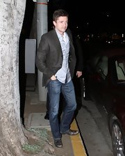 Topher Grace was classy, but casual in jeans paired with a blazer and button-down to dinner in Hollywood.