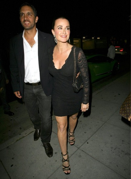 Kyle Richards chose a long-sleeve mesh LBD for her look while out in Beverly Hills.