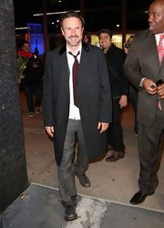 David Arquette dressed up his going out look with this classic evening coat.