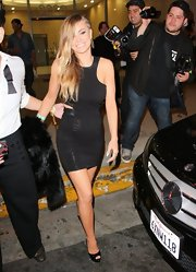 Carmen Electra opted for a little black dress for her going out look while hanging out in Hollywood.