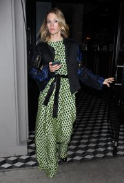 January Jones dined out at Craig's wearing an oversized geometric-print jumpsuit by Tome.