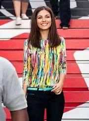 Nothing says young and fun quite like Victoria Justice's multi-colored print blouse.