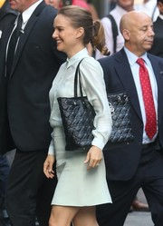 Natalie Portman headed to 'Good Morning America' carrying a chic black Dior Panarea tote.
