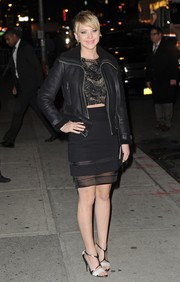 This J. Mendel sheer-panel pencil skirt gave Jennifer Lawrence a subtly sexy look.
