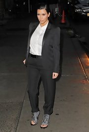 Kim K got serious in this black pantsuit for the 'Late Show with David Letterman.'
