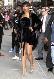 Jennifer Hudson arrived for her 'Stephen Colbert' appearance looking boudoir-chic in a black velvet robe and a matching dress by Brandon Maxwell.