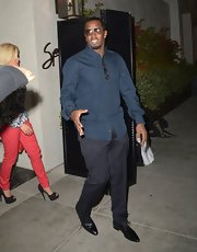 Sean Combs looked dapper in a teal button-down and gray slacks at the 'Inventing David Geffen' after-party.