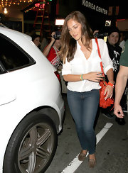 Minka Kelly's patch-pocket shirt is such a classic when paired with blue jeans.