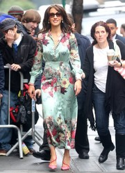 Jennifer Beals was all abloom in a floral silk dress during her appearance on 'The View.'