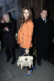 Olivia Palermo carried a spunky, zebra print Mulberry bag at the Mulberry runway show during London Fashion Week.