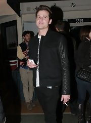 Jared Followill was spotted at the El Rey Theater looking smart in a black leather-sleeve jacket.