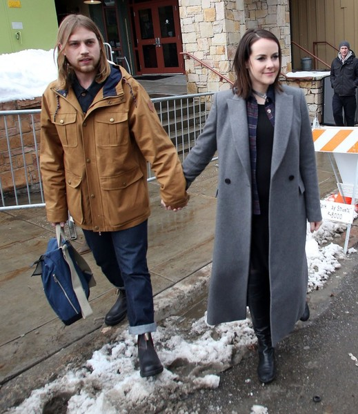 Jena Malone was spotted at the Sundance Film Festival wearing a long gray wool coat.