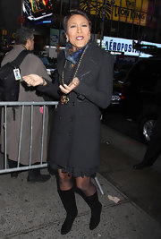 Robin Roberts' black boots added some edginess to her look.