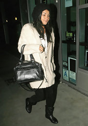 Jessica Szohr hit the movie theater carrying a stud-embellished Rebecca Minkoff tote bag.