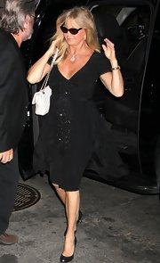 Goldie Hawn stepped out in NYC wearing this classic LBD with black beading on the front.
