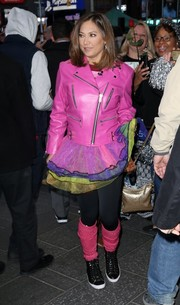 Ginger Zee was hard to miss in her hot-pink leather biker jacket while headed to 'Good Morning America.'