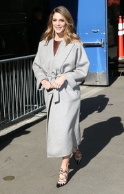 Ashley Greene made her way to 'Good Morning America' wearing a classic gray wool coat.