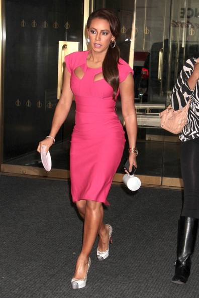 Melanie Brown completed her stylish ensemble with embellished platform pumps by Christian Louboutin.