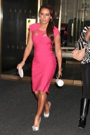 Melanie Brown put her famous curves on display in a tight-fitting pink dress with peekaboo detailing during her visit to the 'Today' show.
