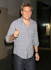 Curtis Stone chose this plaid button down for his relaxed look while visiting the 'Today Show' while in NYC.
