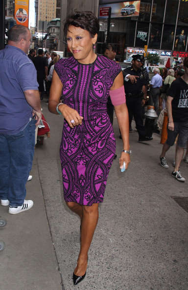 Robin Roberts was spotted outside the 'Good Morning America' show wearing a sheath that had a chic print and a lovely color.