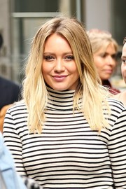 Hilary Duff visited SiriusXM wearing an edgy-chic center-parted 'do.