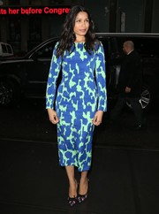 Freida Pinto went all out with the colors, pairing her dress with multi-hued pumps by Ferragamo.