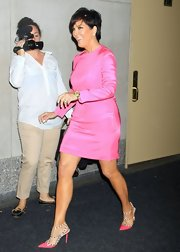 Kris Jenner chose a bubblegum pink long-sleeve dress for her bright look on 'The Today Show.'