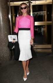 Giuliana Rancic made her way to the NBC Studios looking striking in a white, black, and hot-pink dress by Alex Perry.
