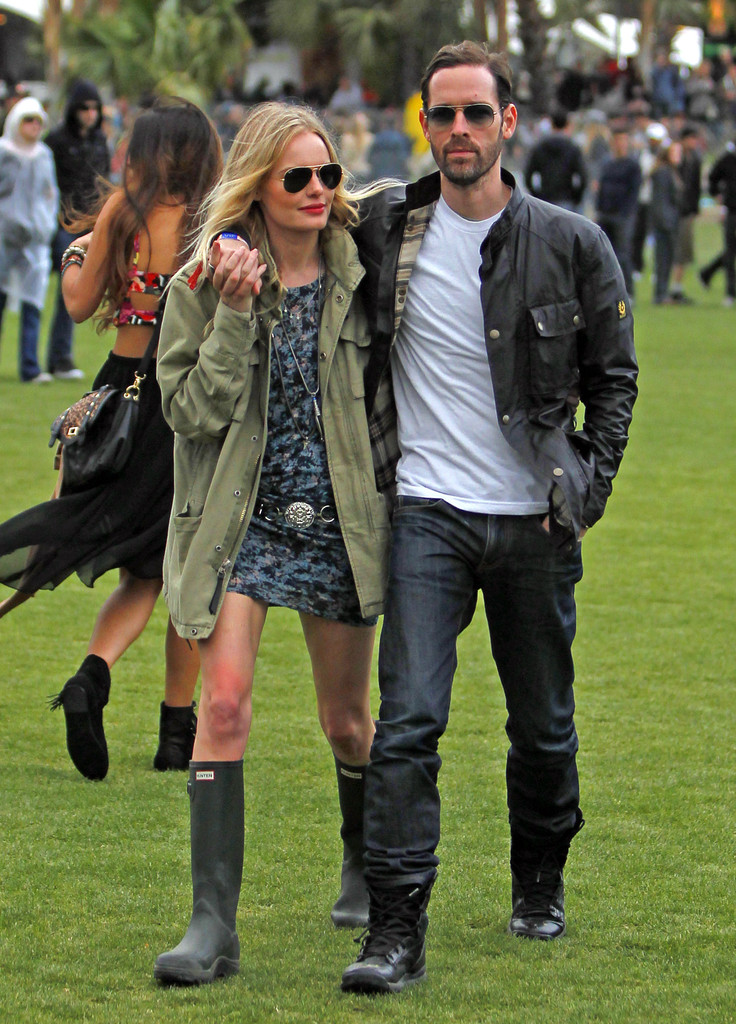 "Celebrities flock to the ""Coachella Music Festival"" in Coachella, California on April 13, 2012.<br /> <br /> Pictured: Kate Bosworth, Michael Polish"