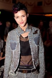 Ruby Rose showed off her red highlighted fauxhawk while hitting the Pepe Jeans Runway Show.