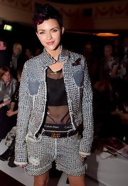 Ruby Rose paired her denim studded shorts with a matching jacket.