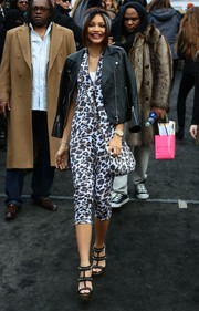 Zendaya Coleman played the matching game with this leopard-print shoulder bag and jumpsuit combo during Mercedes-Benz Fashion Week.