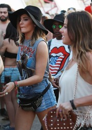 Kylie Jenner was spotted at Coachella wearing a floppy black sun hat by Free People.