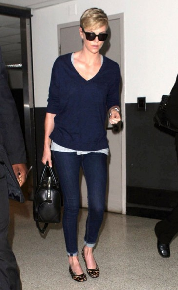 Charlize Theron in classic navy.