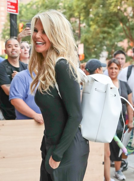Christie Brinkley went out and about in New York City carrying a stylish white leather backpack.
