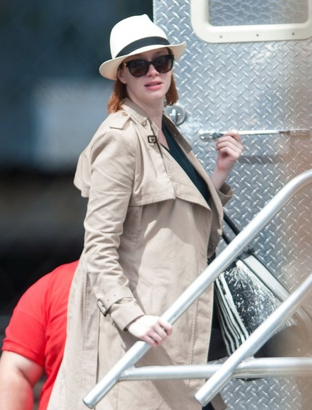More Pics of Christina Hendricks Trenchcoat (4 of 11) - Christina Hendricks Lookbook - StyleBistro