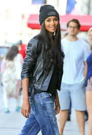 Ciara took a stroll in New York City wearing a black beanie.