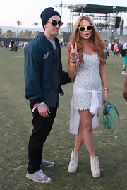 Lindsay showed her love of the '90s in this lacy day dress at Coachella.