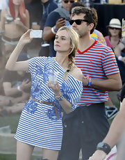 Diane Kruger drew her hair into a casual side-braid for an afternoon at the Coachella Music Festival.