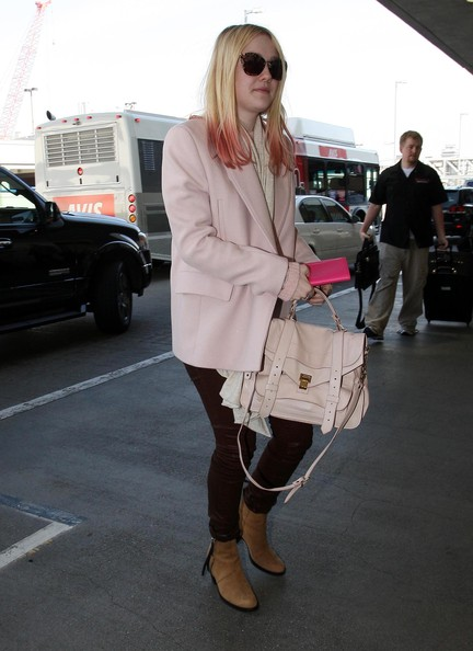 Dakota Fanning Leather Tote