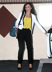 Karina Smirnoff opted for classic black pants for her look after rehearsals for 'Dancing with the Stars.'