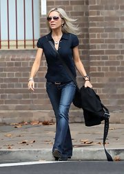 Russell Crowe's wife takes a walk in these classic bootcut jeans.