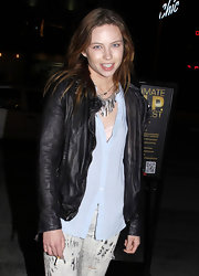 Daveigh Chase toughened her street style with a rumpled leather jacket.
