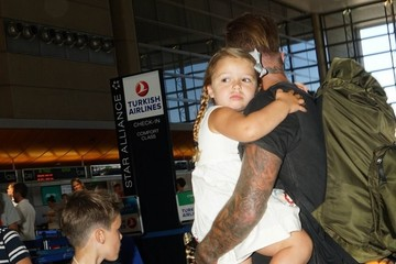 David Beckham Harper Beckham David Beckham Catches A Flight With His Kids