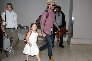 David Beckham Harper Beckham David Beckham Spotted At LAX